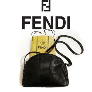 VTG FENDI Roma Stripe Canvas Dome Shoulder Bag